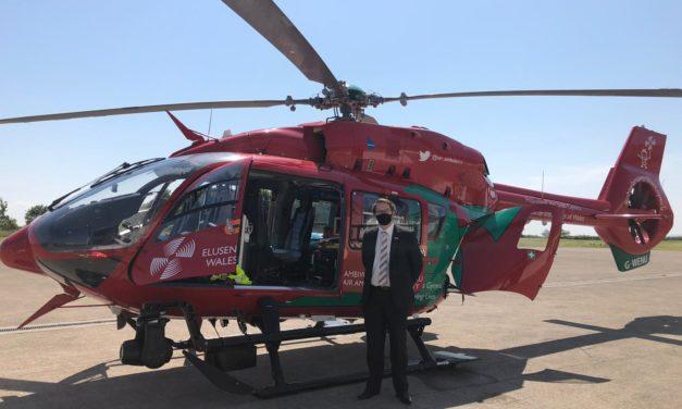 MS Visits Wales Air Ambulance