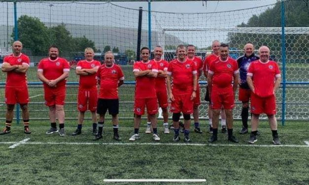 Cambrian walking footballers on song
